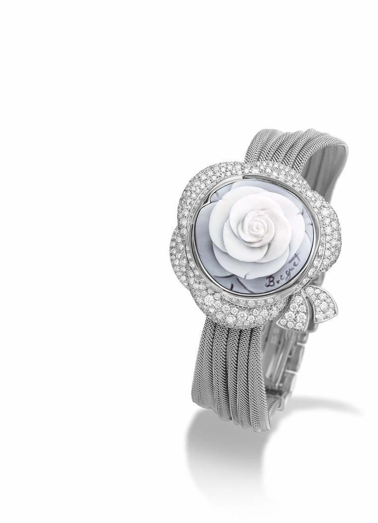 Breguet Rose de la Reine secret watch features a beautiful cameo rose carved from shell as a cover. The rose was recreated from a 1783 painting of Queen Marie Antoinette of France.