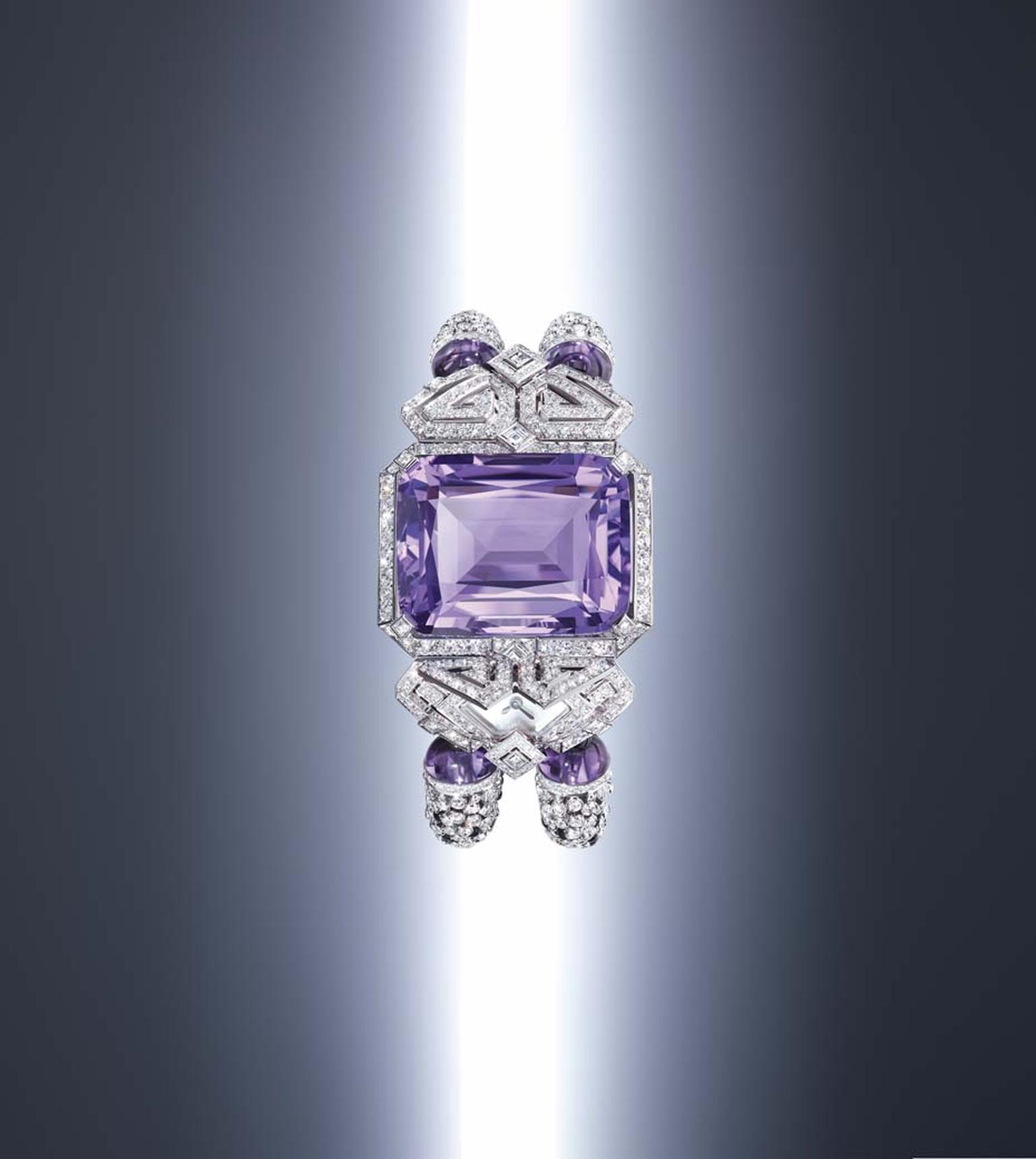 Cartier Purple high jewellery secret watch marries a marvellous, cushion-shaped amethyst of 62.84 carats with a geometric, Art Deco frame punctuated with diamonds.