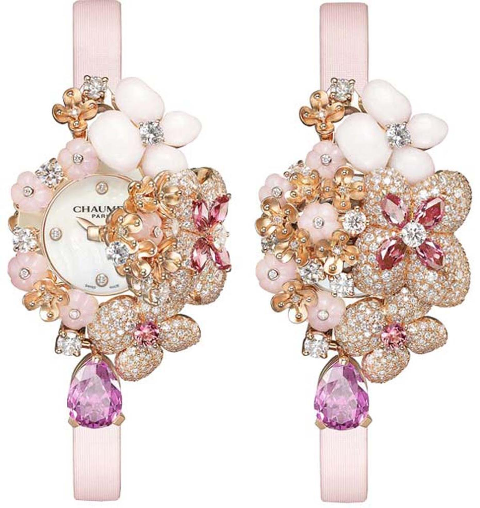 Chaumet Hortensia high jewellery secret watch forms part of the Hortensia jewellery collection and doubles up as wonderful bracelet presented on a pink satin strap.