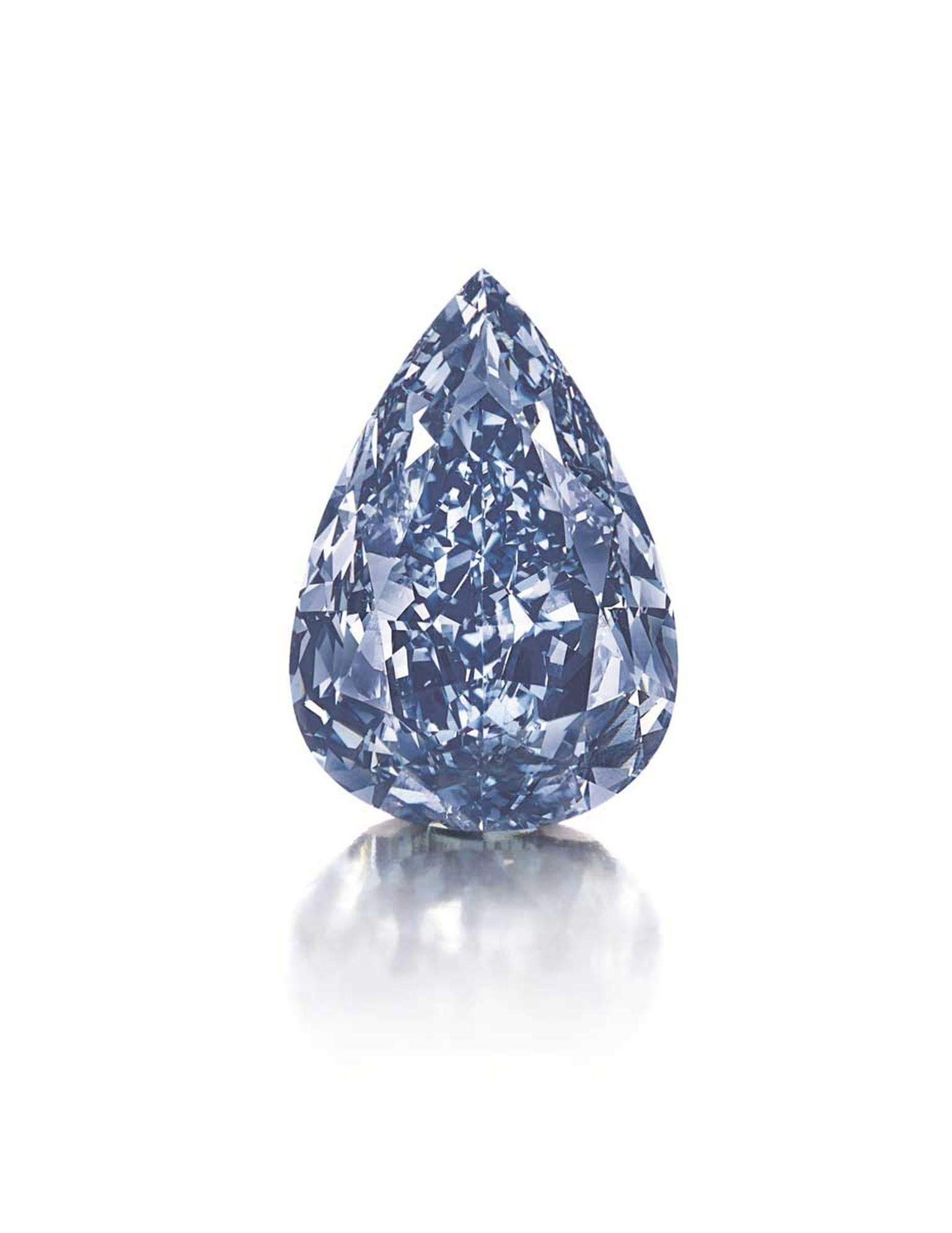 Weighing in at 13.22ct, the flawless, Fancy Vivid Winston Blue diamond fetched a staggering $1.79m per carat.