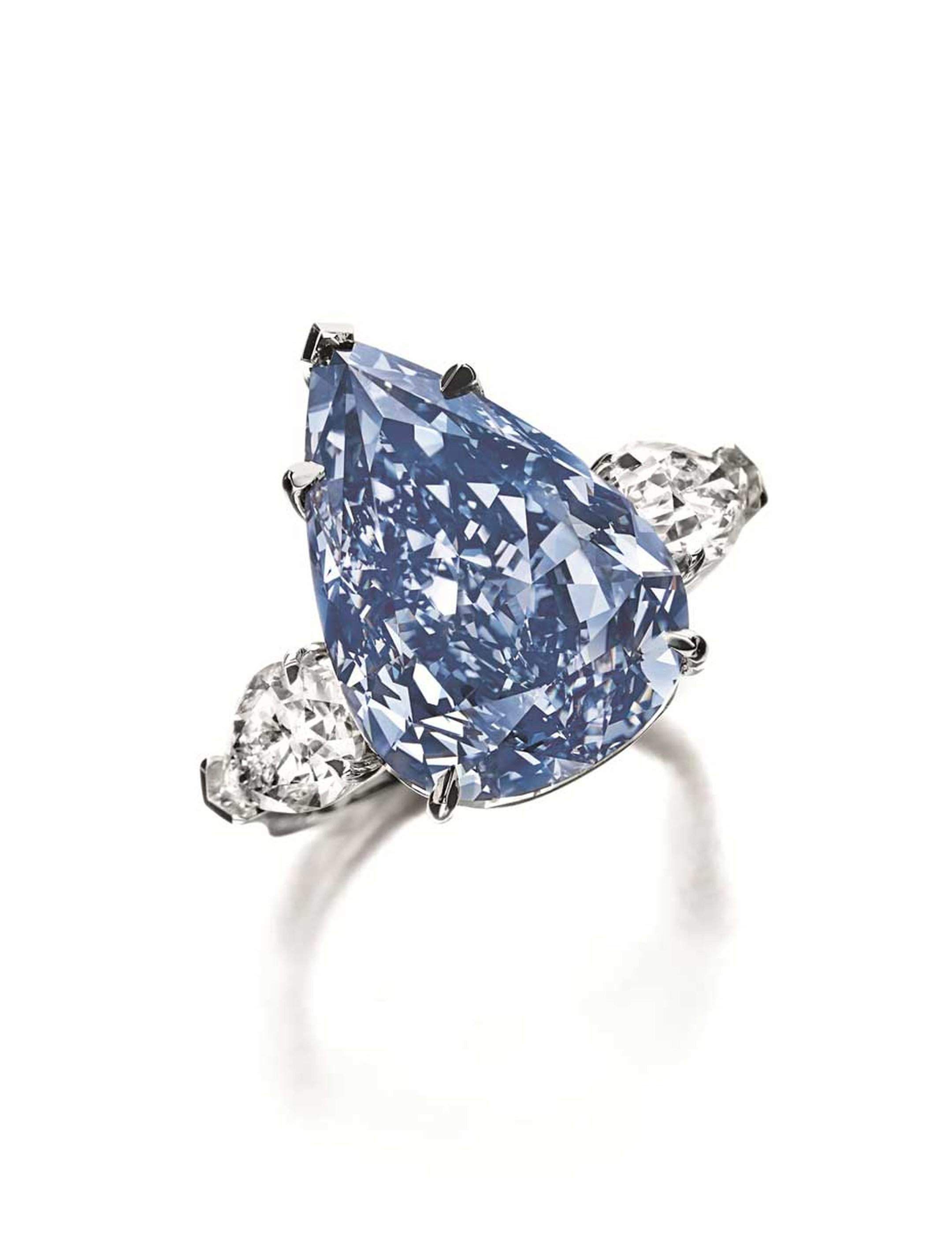 Weighing in at 13.22ct, the flawless, Fancy Vivid blue diamond fetched a staggering $1.79m per carat.