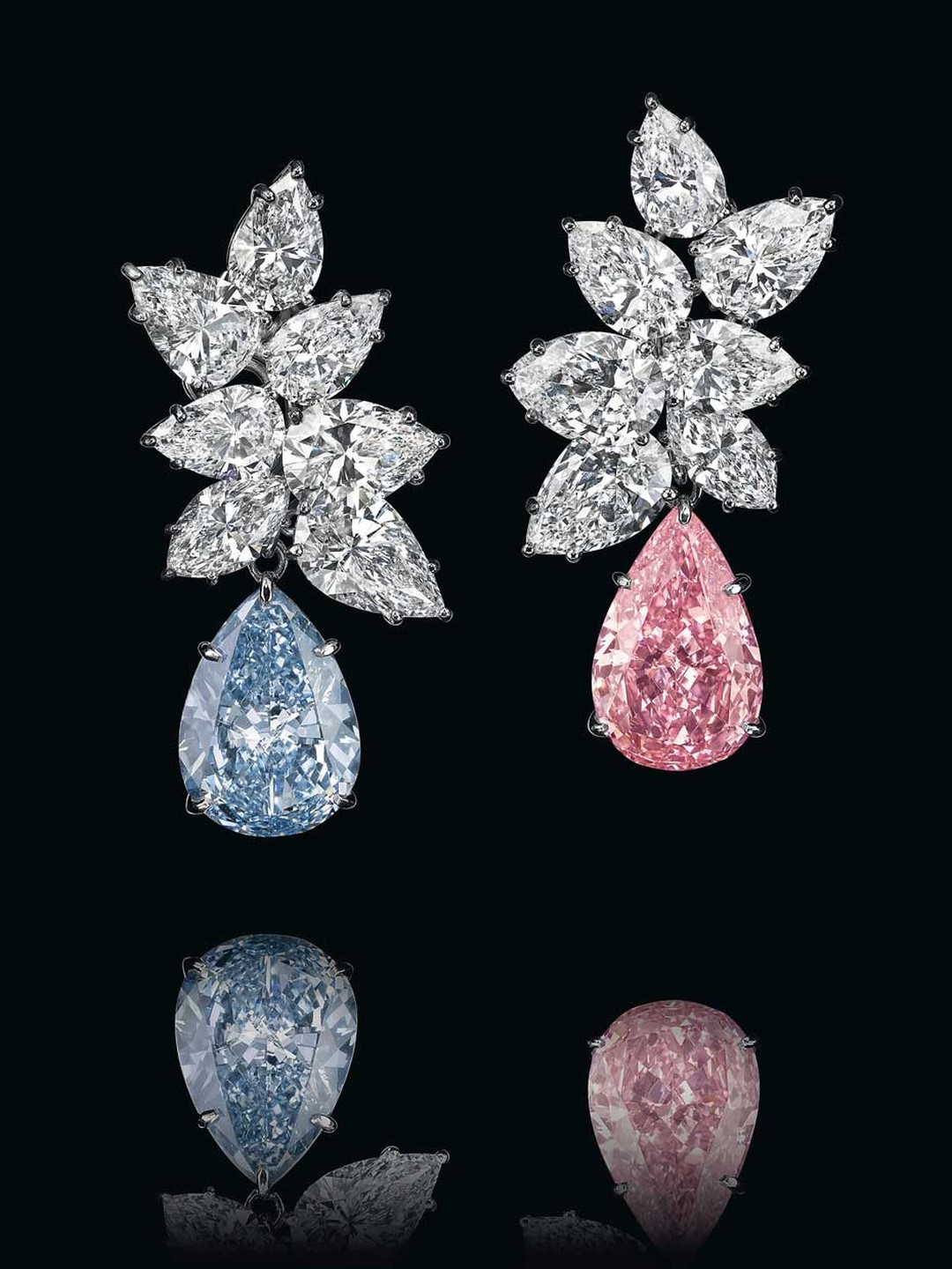 These coloured diamond ear pendants fetched a final price of $15.82m at Christie's auction house in Geneva in 2014.