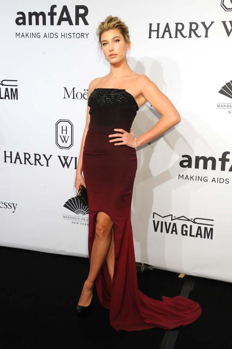 Aspiring model Hailey Baldwin attended the amfAR New York Gala wearing a selection of sponsor Harry Winston's high jewellery. Her pieces, all set in platinum, included a set of Belle 4.45 carat diamond earrings, a diamond Line Bracelet (14.69 carats), and
