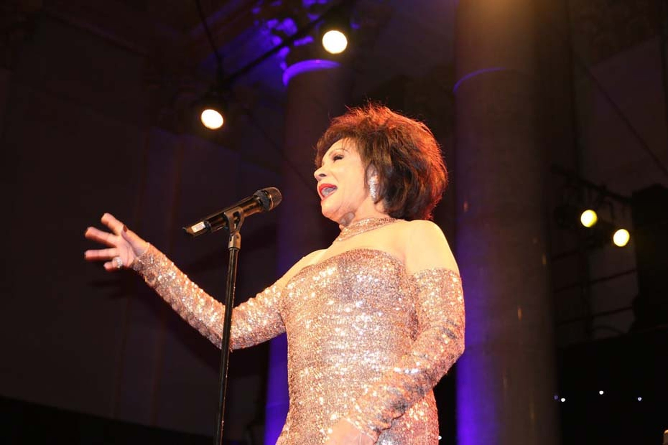 "The amfAR Gala also included a special performance from Dame Shirley Bassey, who accessorised her stunning gold dress with a duo of Harry Winston diamond jewellery, as she took to the stage to sing ""Diamonds are Forever"". Bassey wore a set of Winston Clus"