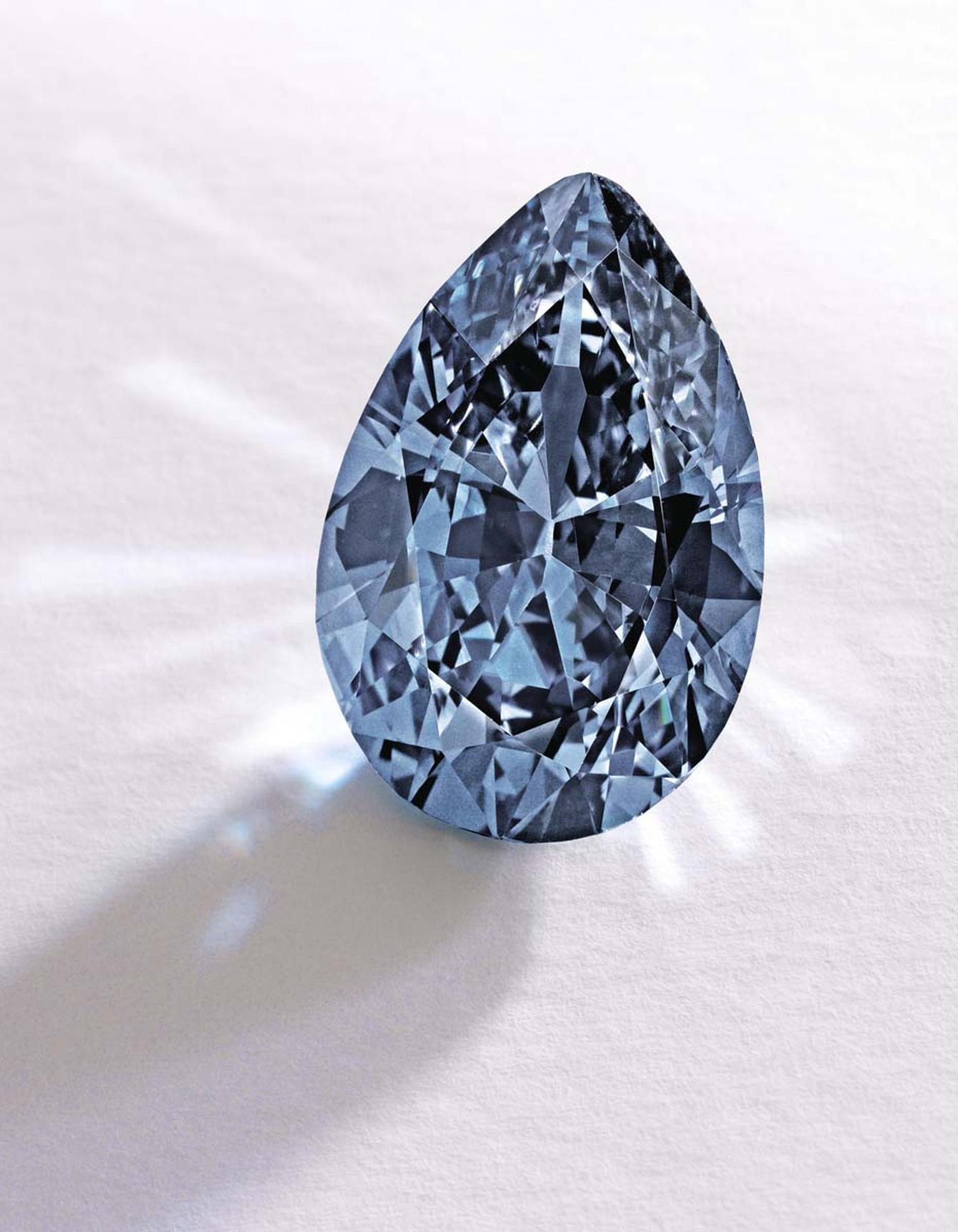 This rare 9.74ct Fancy Vivid blue diamond, known as the Zoe diamond, was sold for $32.6m by Sotheby's in November 2014.