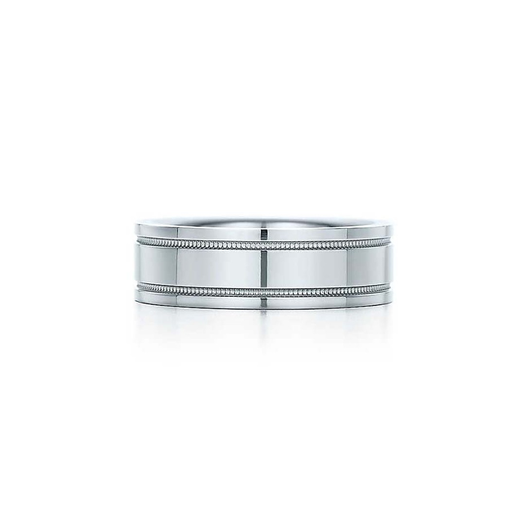 Simple but stylish, Tiffany & Co's Double Milgrain wedding band in platinum.