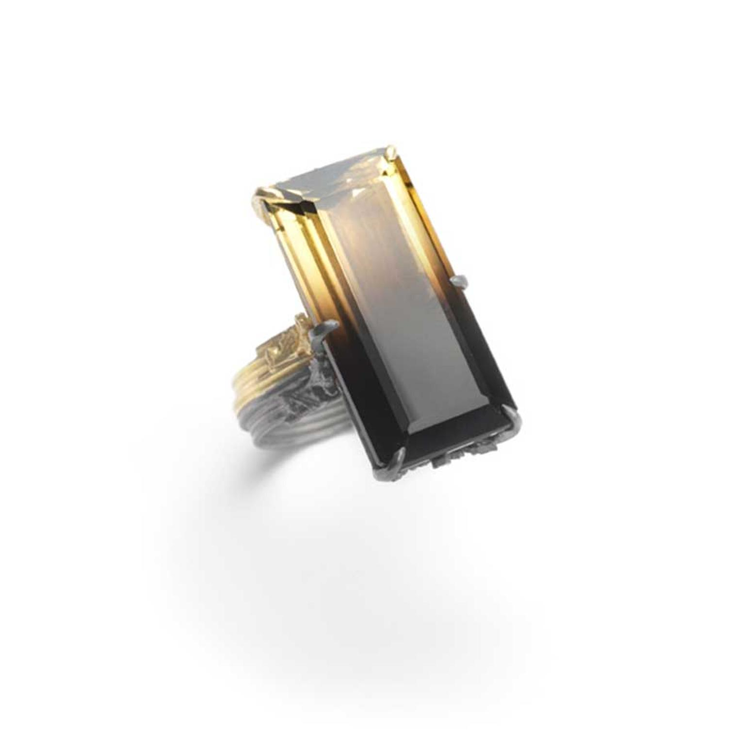 Bi-coloured citrine ring from Beth Gilmour's Dichroma Collection.