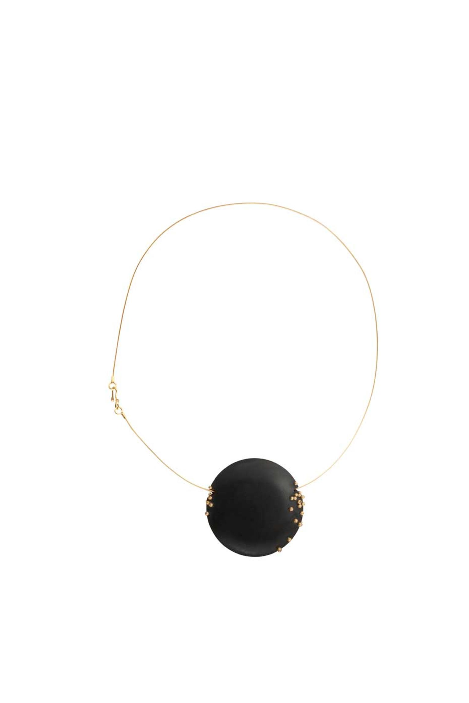 Jacqueline Cullen hand-carved Whitby jet pendant in gold, set with champagne diamonds.