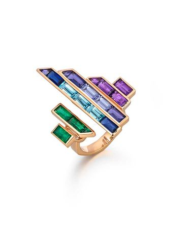 Tomasz Donocik Electric Night Disc ring in rose gold with coloured gemstones