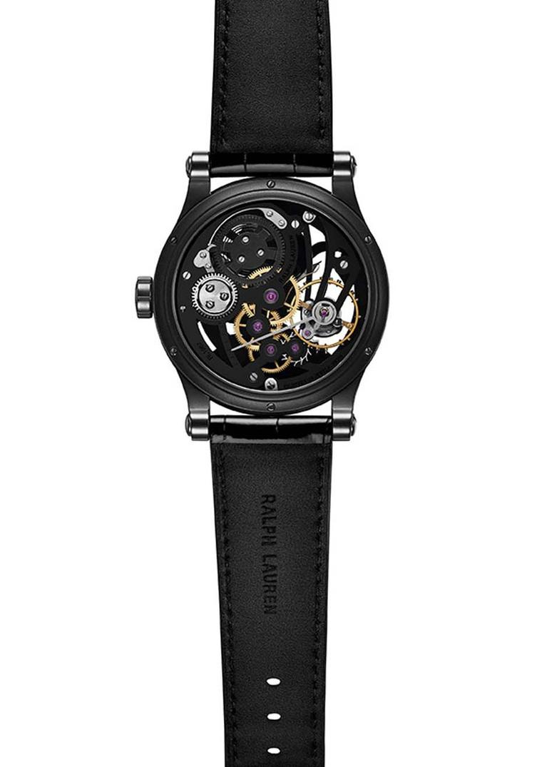Ralph Lauren Automotive Skeleton watch is equipped with hand-wound caliber RL1967. Beautifully skeletonized, the depth is accentuated with a black finish on the plate and bridges, which provides a nice contrast to the steel and brass elements of the gear