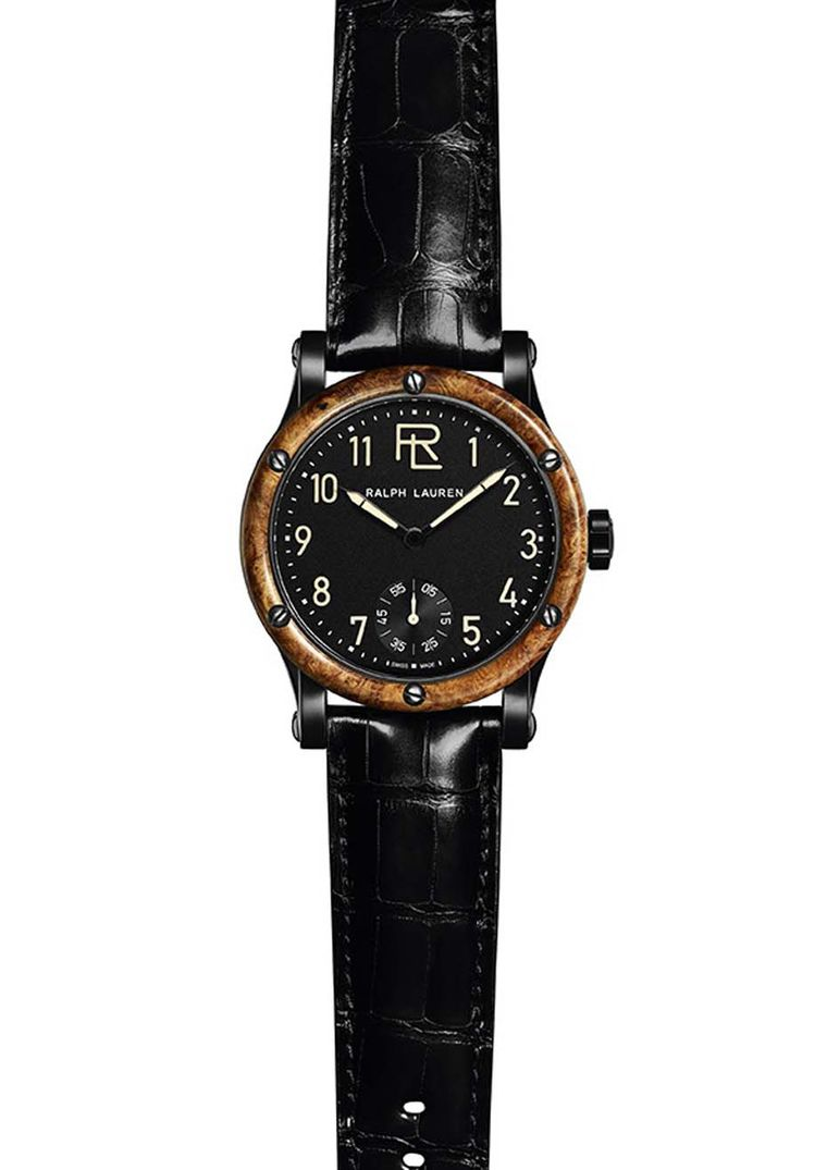 Ralph Lauren Automotive watch equipped with a hand-wound mechanical engine, made especially for Ralph Lauren by IWC. The 45mm case houses a galvanic, matte black dial with beige luminescence for the hour and minute hands. The bezel is made from rare amboy