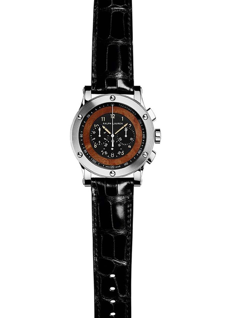 Ralph Lauren Automotive Chronograph is a high-precision instrument for measuring elapsed time and includes a tachymetric scale to measure speed. The racing motor has been furnished by Jaeger-LeCoultre for Ralph Lauren.