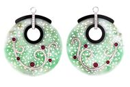 Edward Chiu's beautiful green jadeite, black jade, ruby and diamond earrings in white gold.