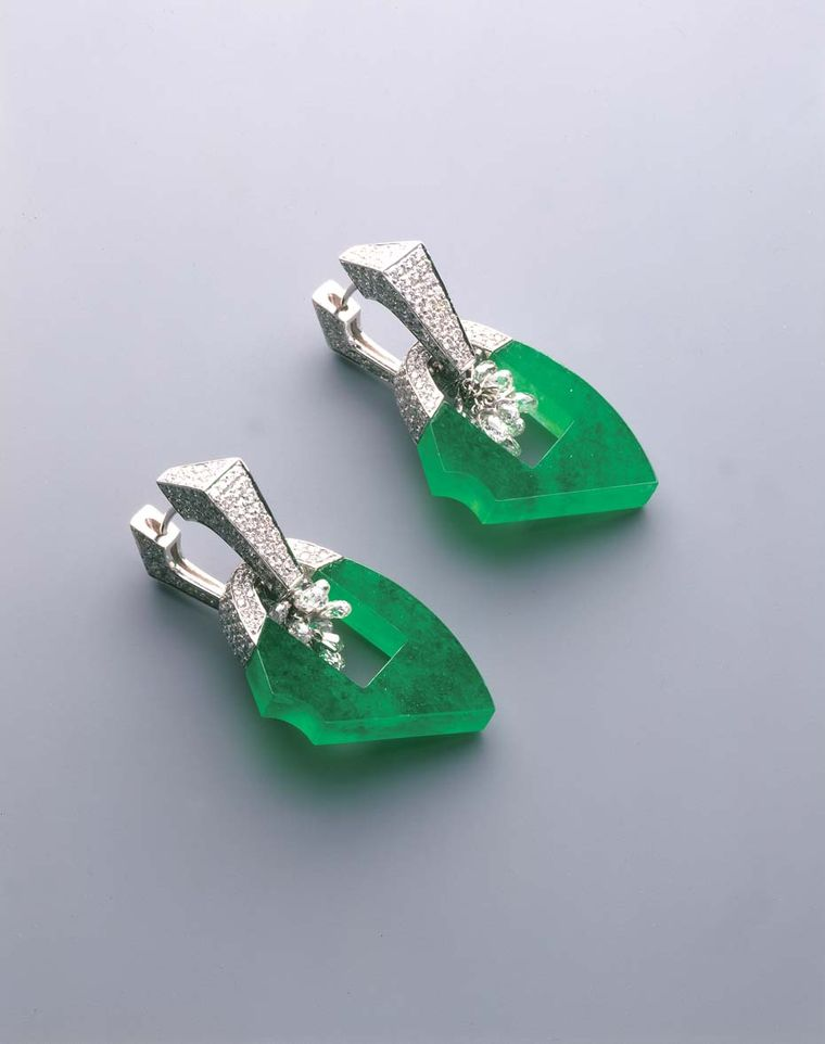 Samuel Kung's dainty, rough hewn jadeite earrings with pavé-set diamonds and briolettes.