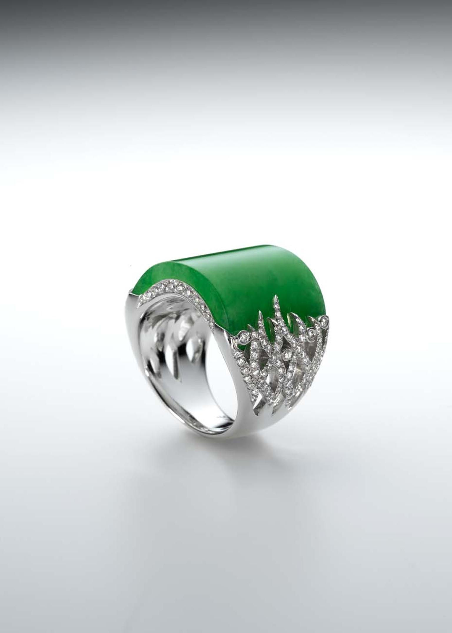 Smoothly polished jadeite ring held by tiny tendrils of diamonds set in white gold, from Samuel Kung's collection.