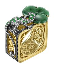 YEWN's Floral Lattice Collection Lotus Leaf and Salamander ring in yellow gold with jadeite, diamonds, black diamonds and tsavorites.