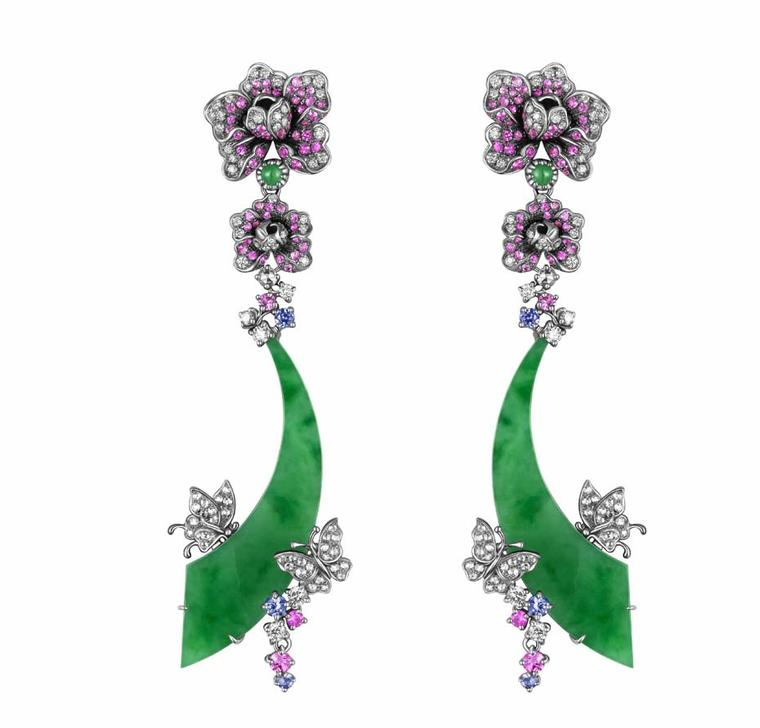 YEWN's Glorious Peony jadeite earrings in blackened white gold with jadeite, diamonds, pink sapphires, sapphires and tsavorites.