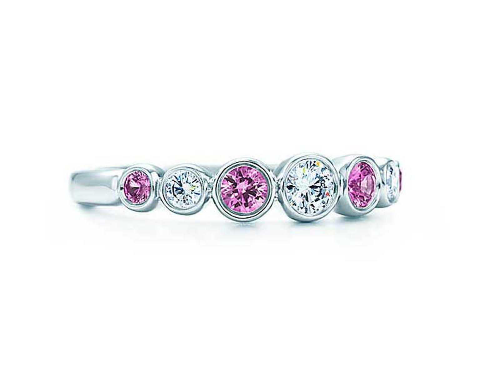 Tiffany Jazz ring in platinum with pink sapphires and diamonds.