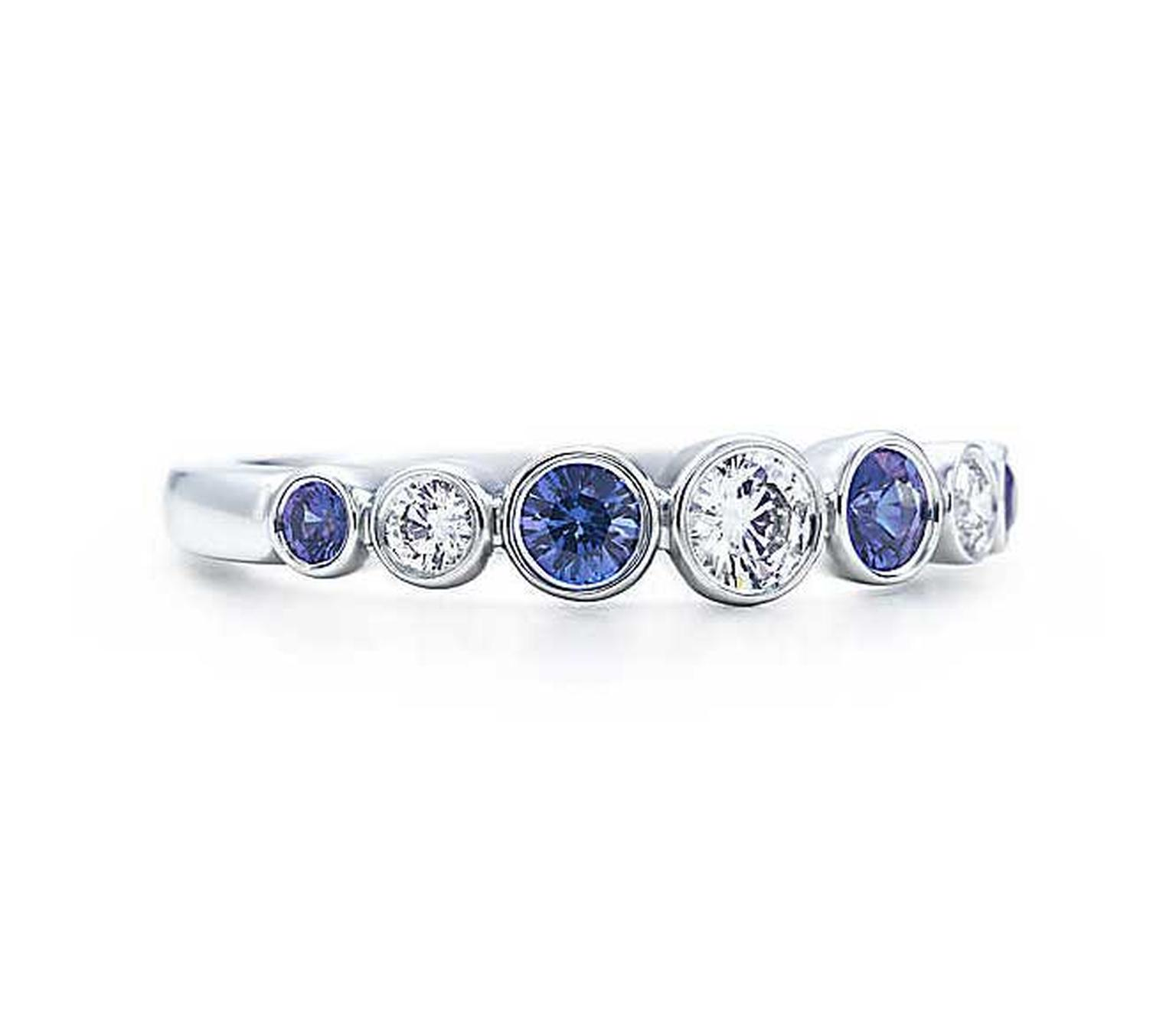 Tiffany Jazz ring in platinum with blue sapphires and diamonds.