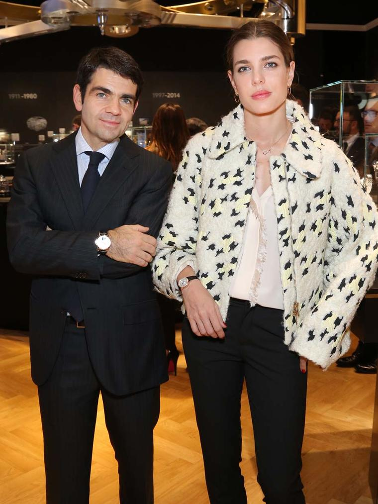 "Charlotte Casiraghi with Montblanc CEO Jerôme Lambert, who commented: ""She displays all the attributes of the contemporary Bohème lady: independent, sophisticated, inspired, talented and pioneering with an uncompromising commitment to perfection in everyt"