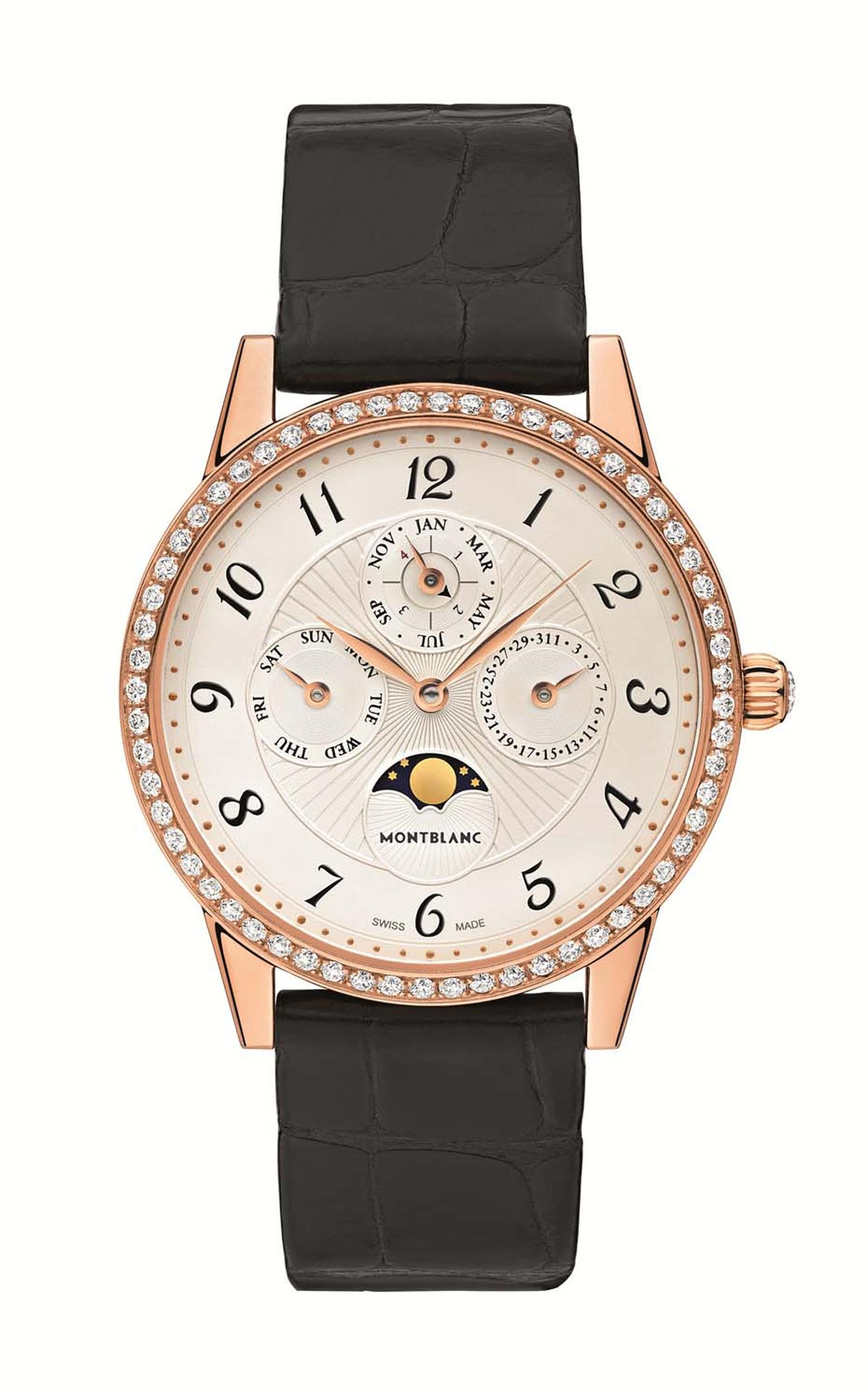 Montblanc Bohème perpetual calendar watch for women. Unlike many women's complications, which are often just smaller versions of the pre-existing men's watch, the Bohème collection was conceived for women, and it shows.