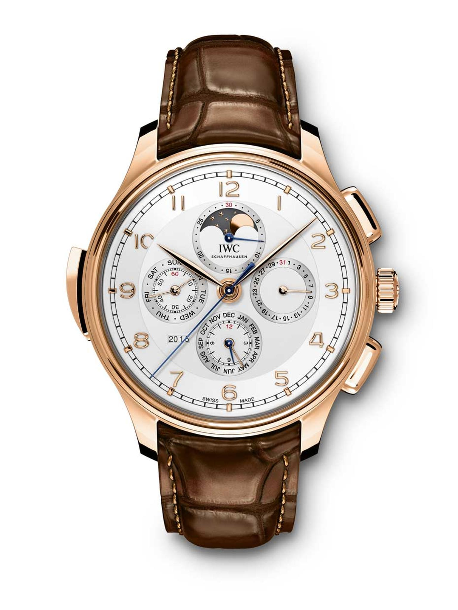 IWC Portugieser Grande Complication has a dazzling array of technical features and a total of 20 different displays and functions, including a perpetual calendar, a chronograph, a Moon-phase indicator and a minute repeater. The 45 mm rose gold model is li