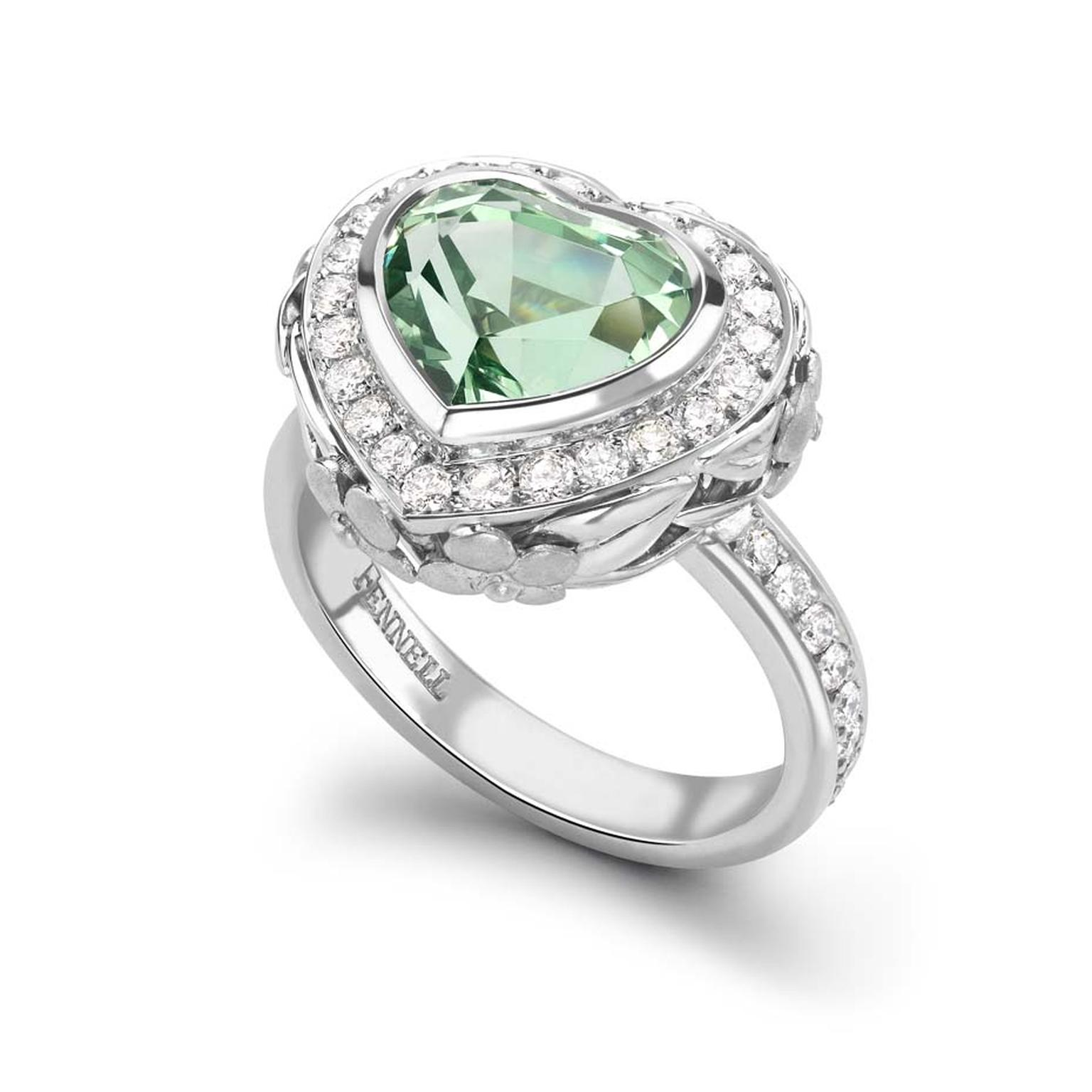 Theo Fennell heart-shaped white gold engagement ring featuring a beautiful 4.3 carat green tsavorite garnet and diamonds.