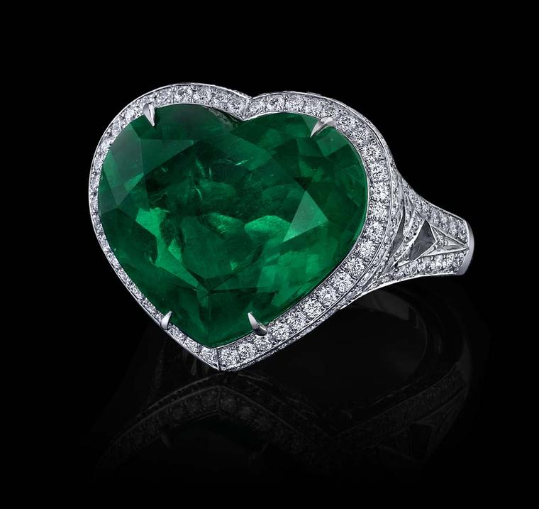 white gold and shaped ring in emerald heart diamond