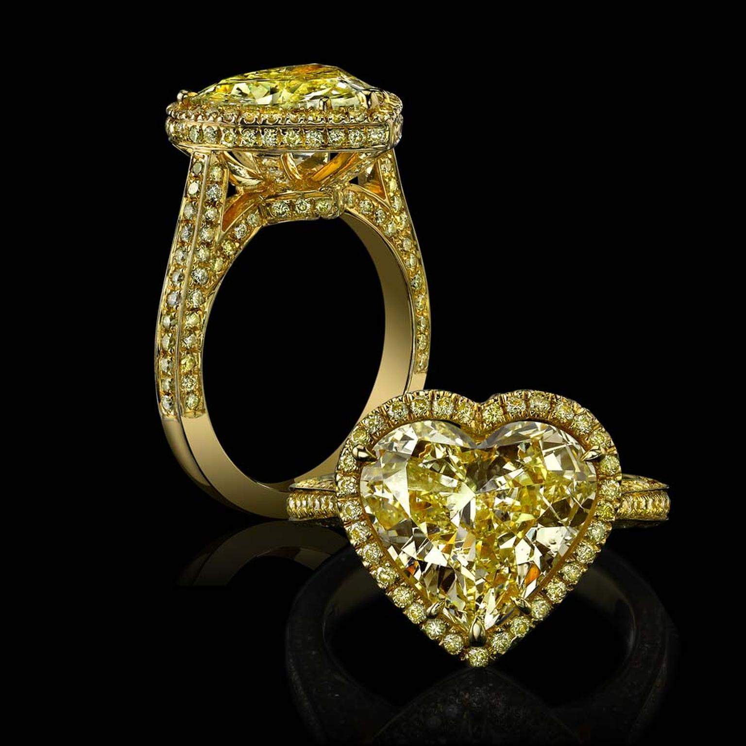 Robert Procop's heart-shaped yellow diamond engagement ring.