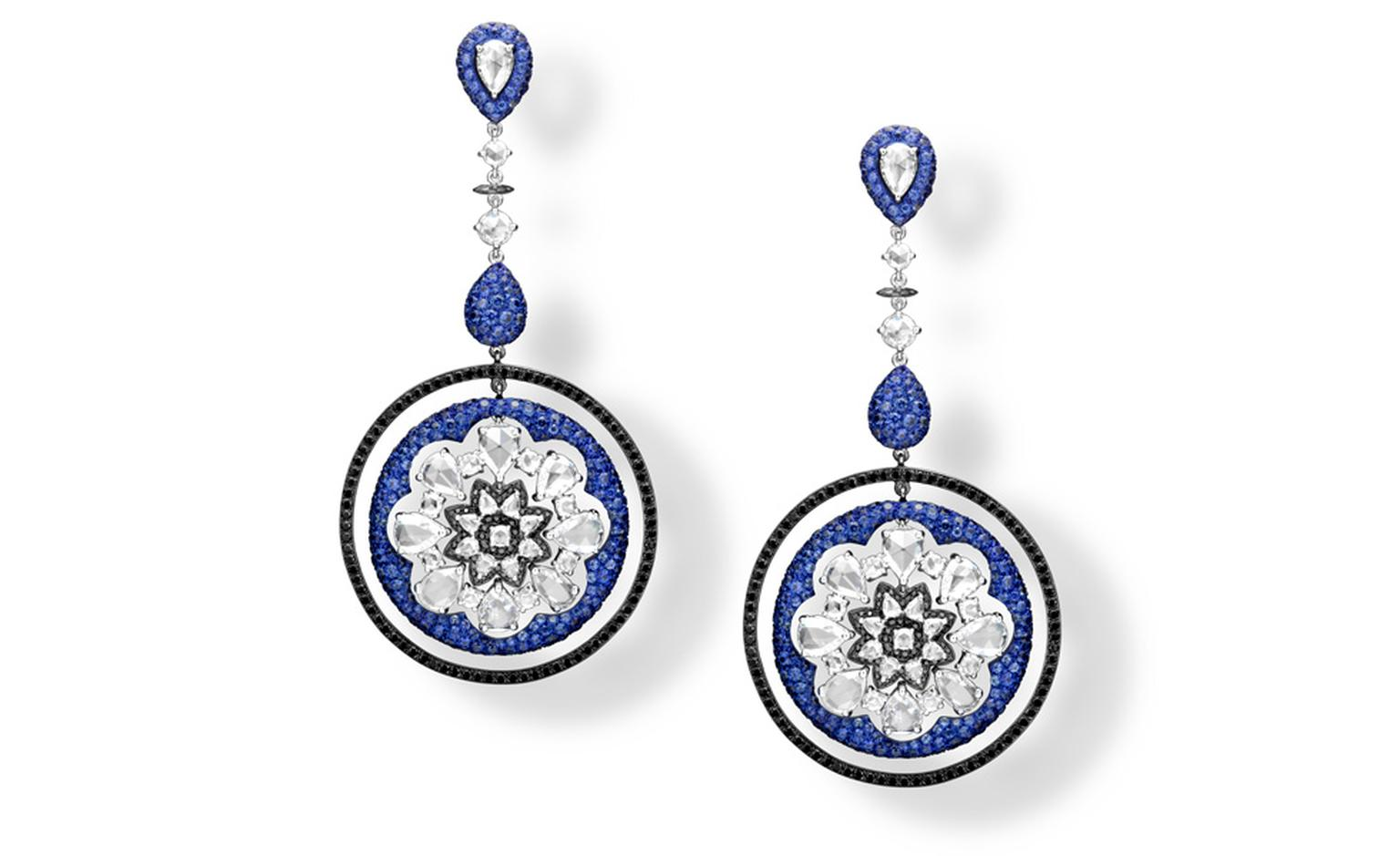 Dream Catcher earrings with sapphires and diamonds by Carnet, designed by Michelle Ong.