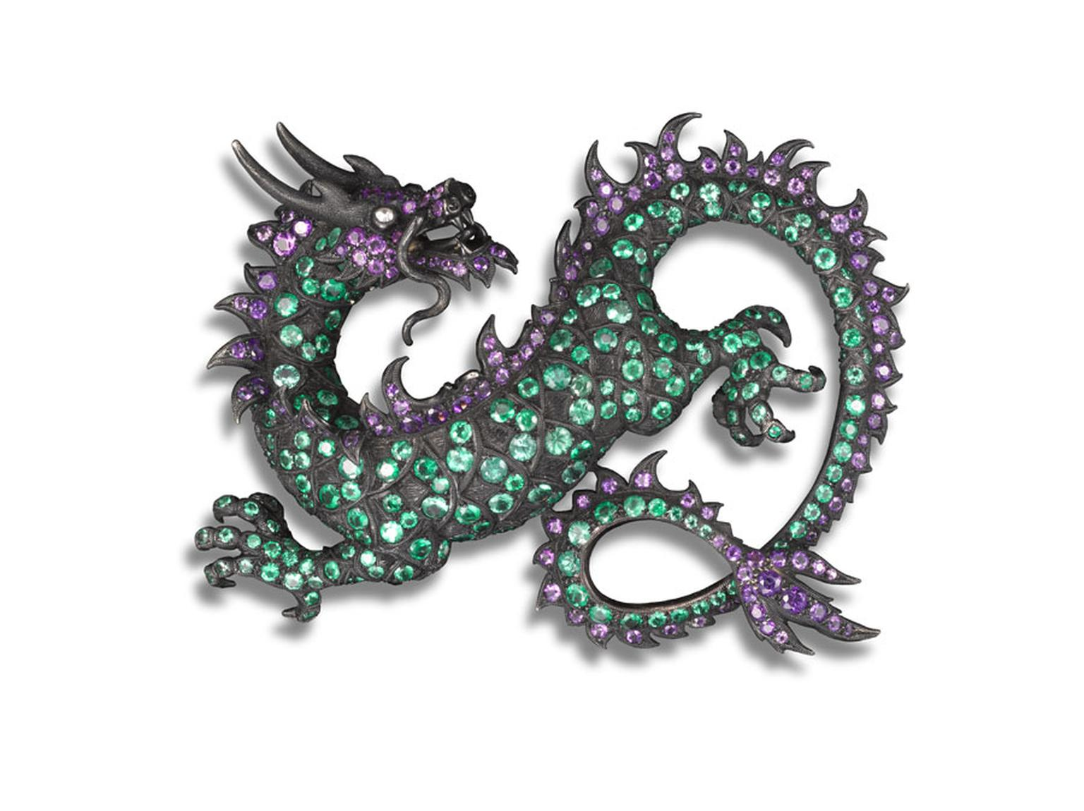 Dancing Dragon brooch with amethyst, emerald and white diamond by Carnet, designed by Michelle Ong.