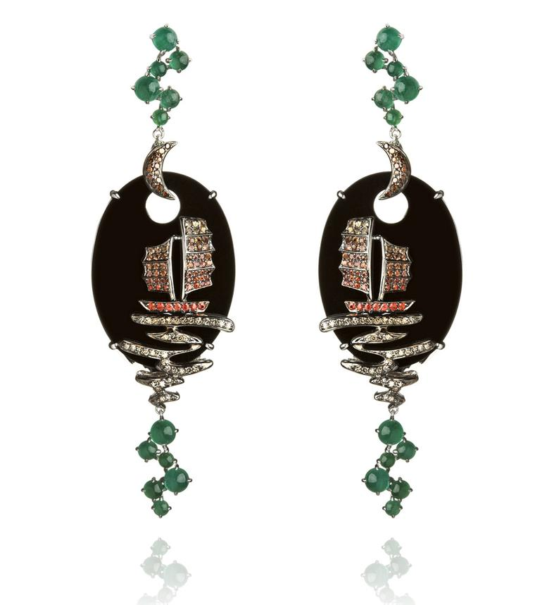 White gold, diamond, sapphire and emerald Fantasie Night Ship earrings by Wendy Yue for Annoushka (£9,200).