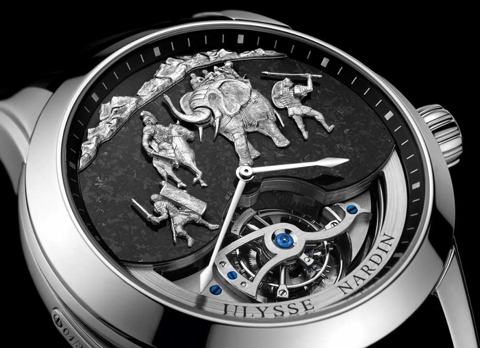Ulysse Nardin Hannibal Minute Repeater is a limited edition of 30 watches in a 44mm platinum case. In addition to the Westminster chimes, the figures on the dial are synchronised with the sound of the gongs.