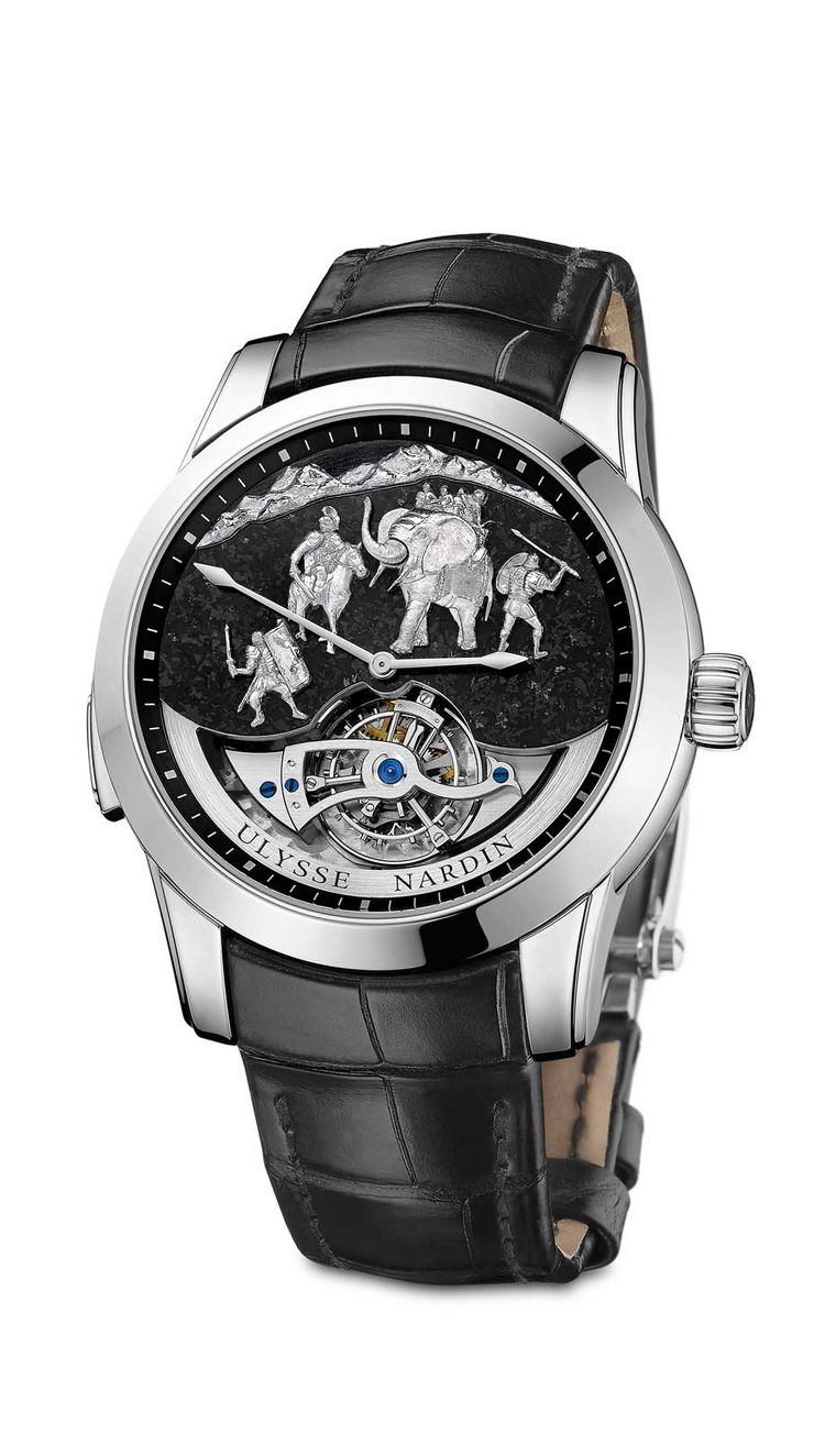 Ulysse Nardin Hannibal Minute Repeater depicts Carthaginian General Hannibal Barca with an elephant during his epic Alpine crossing. The figures are in white gold and the background of the dial is made from Alpine granite.