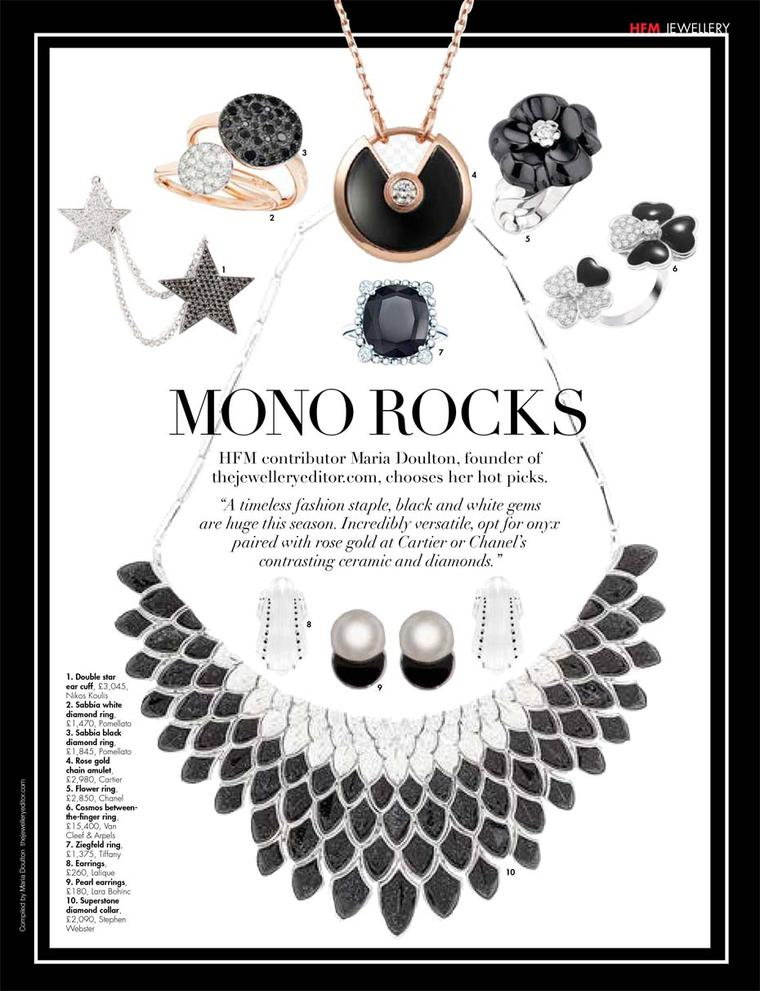 Our top picks of monochrome jewels in the launch issue of Hello! Fashion magazine.