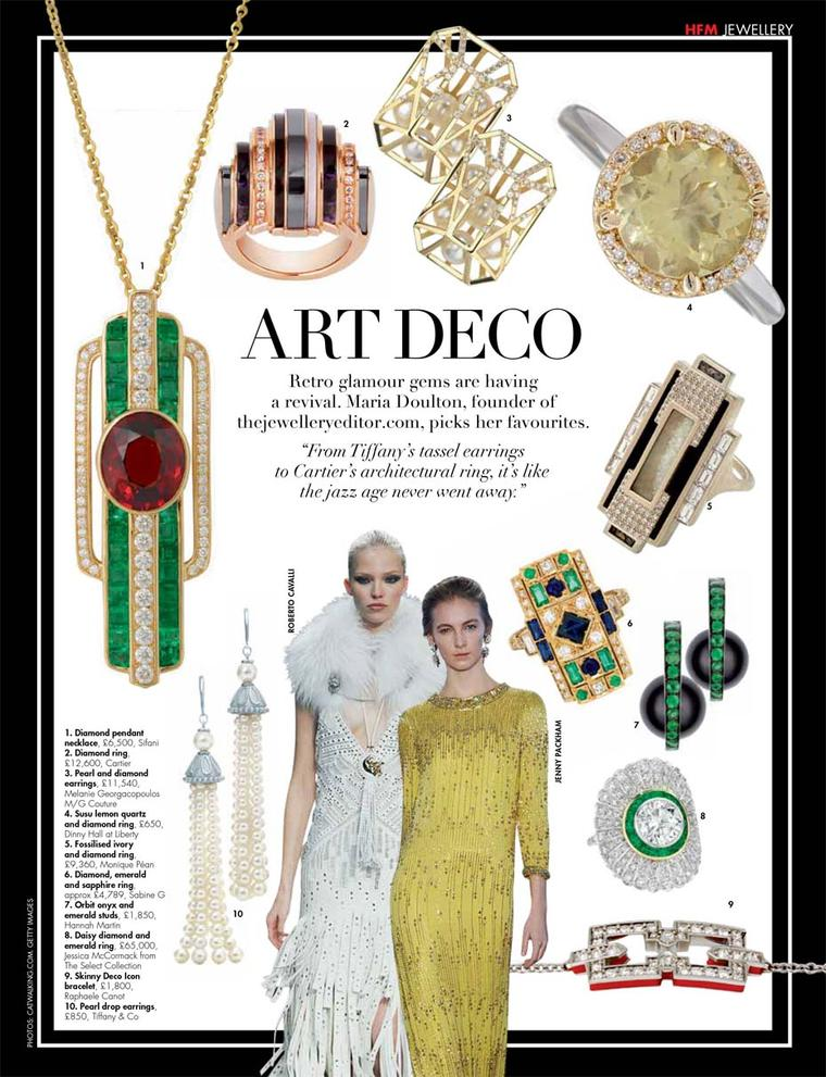 Hello! Fashion magazine featuring our top picks for art deco-inspired jewellery.