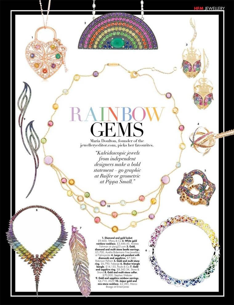 The trend for multi-coloured gemstones shines through on one of the pages of Hello! Fashion magazine, curated by The Jewellery Editor.