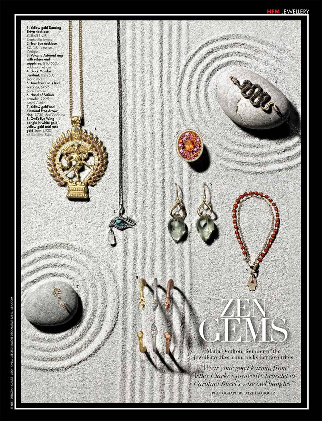 A photo shoot of zen gems for Hello! Fashion magazine, with jewels chosen by The Jewellery Editor.