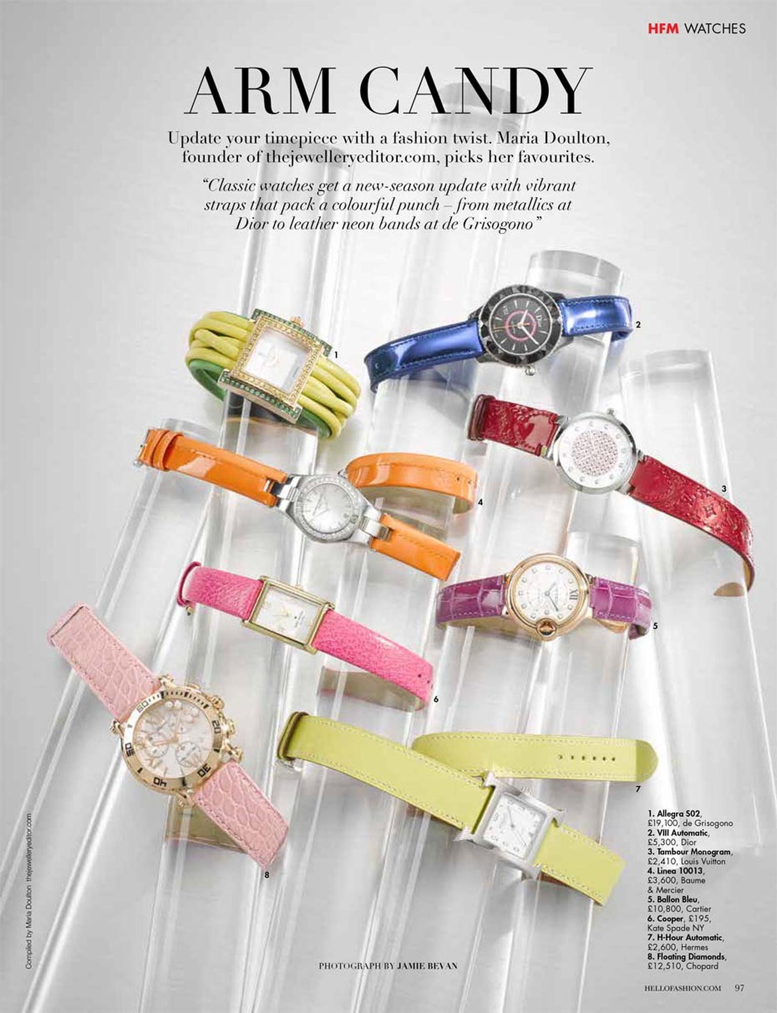 Maria at The Jewellery Editor picked her favourite colourful watches for a photo shoot for Hello! Fashion magazine.