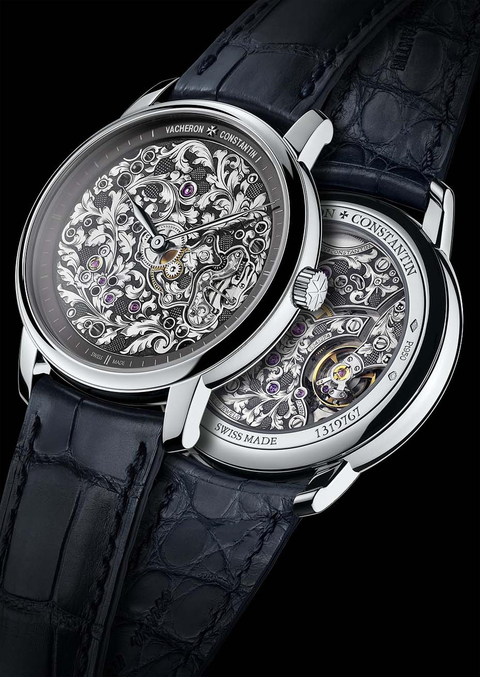 Vacheron Constantin Métiers d'Art Mécaniques Gravées calibre 4400 has been hand-engraved with acanthus leaf motifs on both sides of the movement. The watch is presented in a 39mm platinum case.