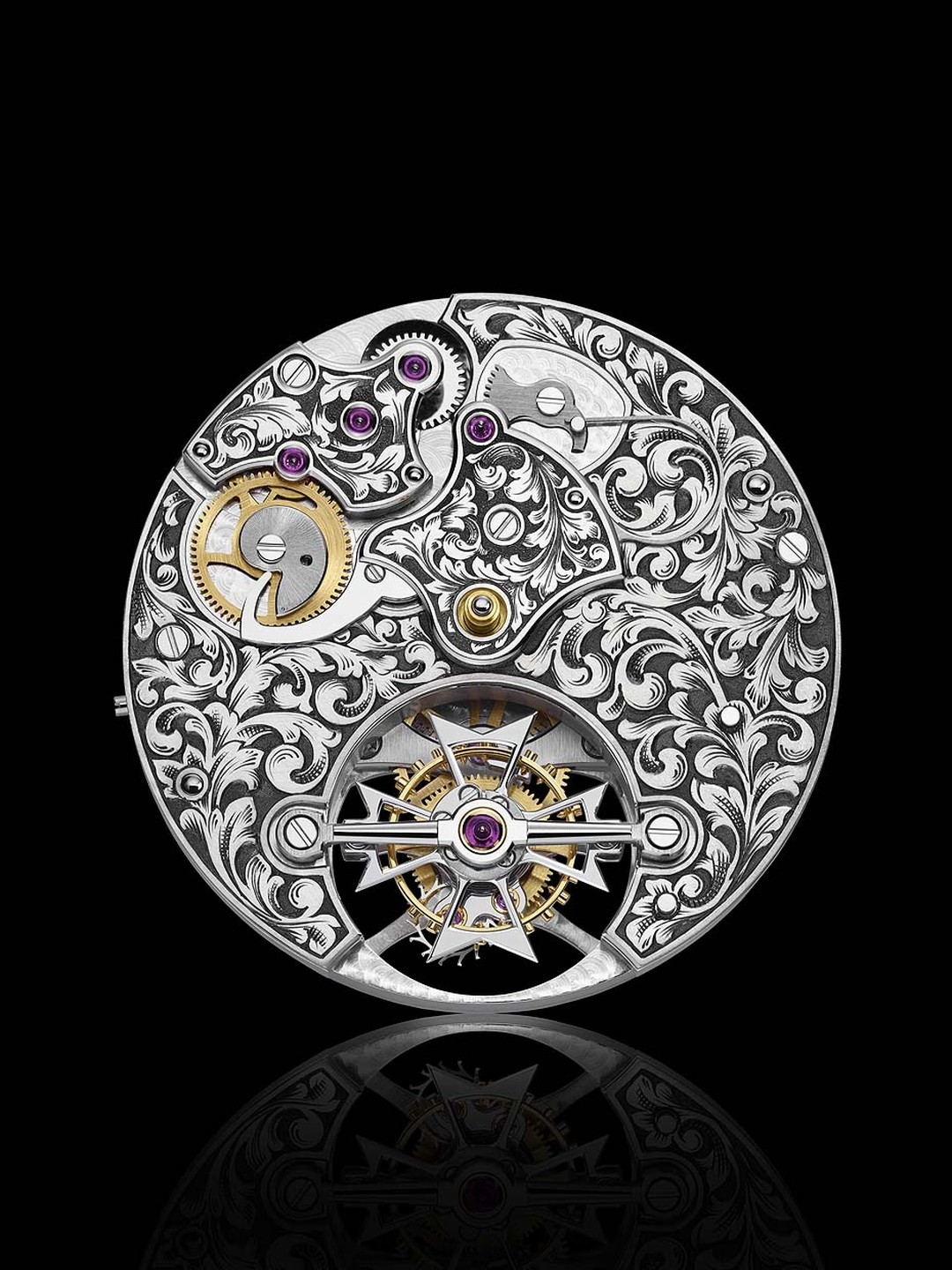 A view of the dial side of Vacheron Constantin's Mécaniques Gravées calibre 2260 watch, highlighting the hand-engraved motifs that took 10 days to complete.