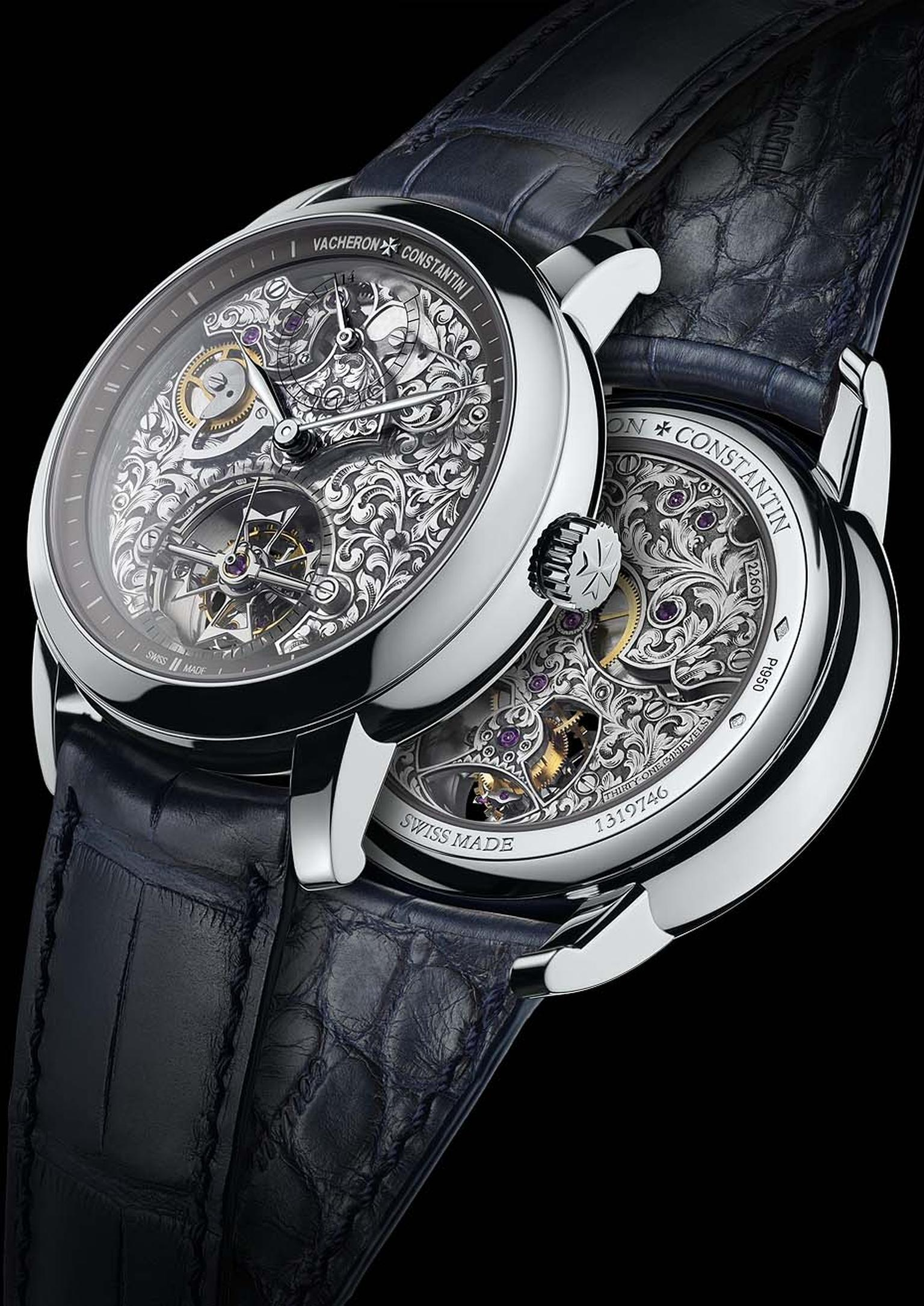Vacheron Constantin Métiers d'Art Mécaniques Gravées calibre 2260 is the motor behind this 14-day tourbillon. On the dial side, the tourbillon carriage is shaped like a Maltese cross. The movement is housed in a 41mm platinum case.