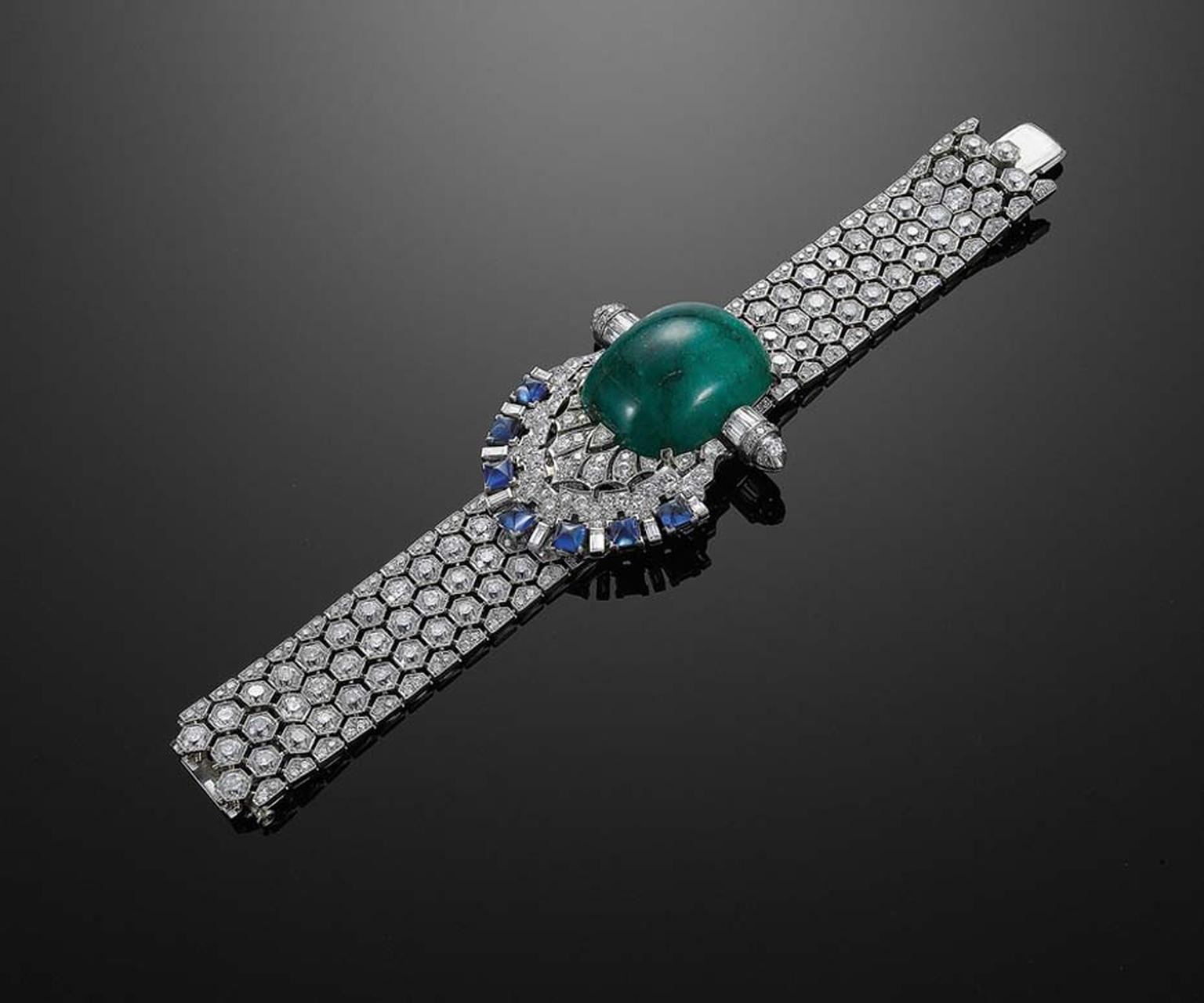 Actress Maggie Gyllenhall wore this impressive, 1950s style, old mine diamond honeycomb bracelet with converted components by Fred Leighton to the 2010 Oscars. Set with a cabochon emerald, sugarloaf sapphires and diamonds, it oozes vintage Hollywood glamo
