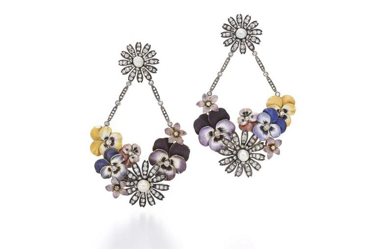 Stunning Fred Leighton Enamel and Diamond Flower Garland pendant earrings set with approximately 5.00 carats of old mine and rose-cut diamonds.