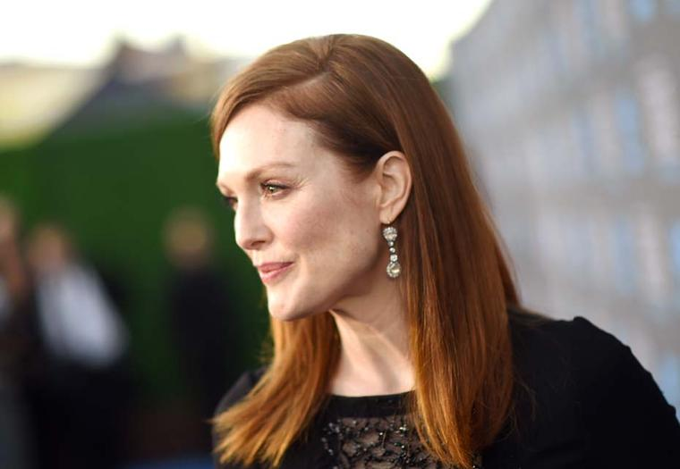 Best Actress Oscars favourite, Julianne Moore, wearing 19th century Fred Leighton earrings on the 2015 Critics' Choice Awards red carpet.