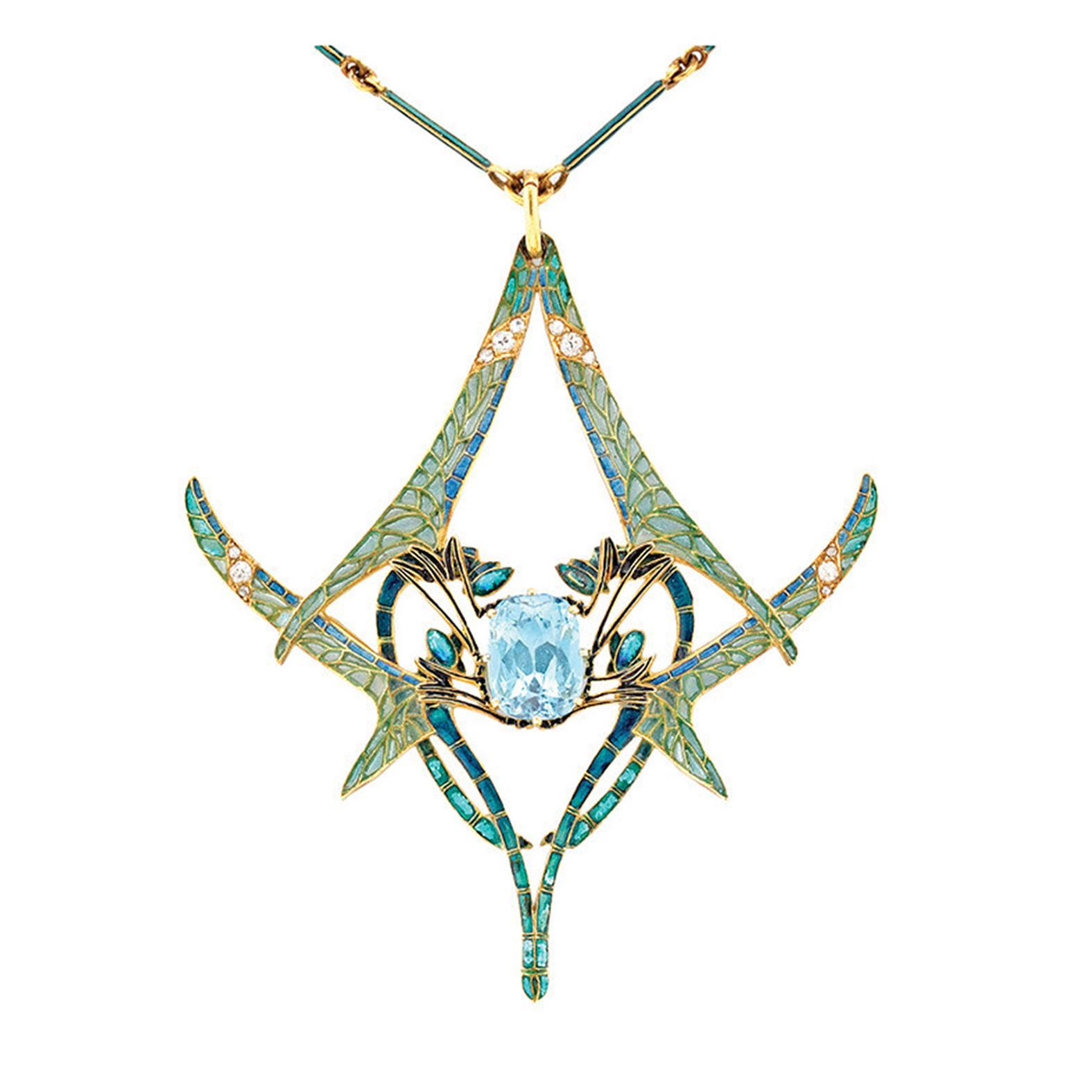 Important René Lalique dragonfly aquamarine pendant with plique-à-jour enamel wings, embellished with circular- and rose-cut diamonds.