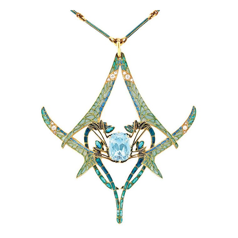 Important René Lalique dragonfly aquamarine pendant with plique-à-jour enamel wings, embellished with circular- and rose-cut diamonds (available at 1stdibs.com).