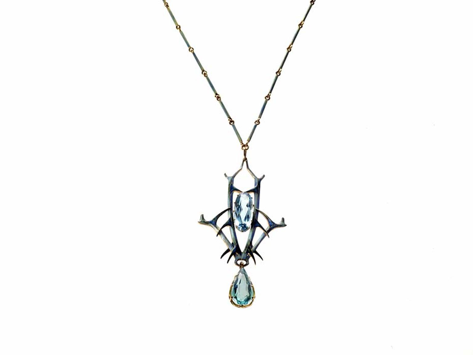 René Lalique made his name as one of France's foremost Art Nouveau jewellery designers and his jewels often featured aquamarines, such as this aquamarine pendant that is currently on display as part of the Maker & Muse exhibition at the Driehaus Museum in