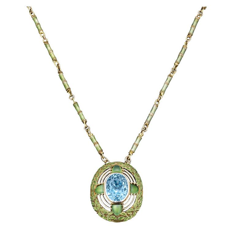 Tiffany & Co. Art Nouveau aquamarine necklace with green enamel detail, circa 1900 (available at 1stdibs.com).