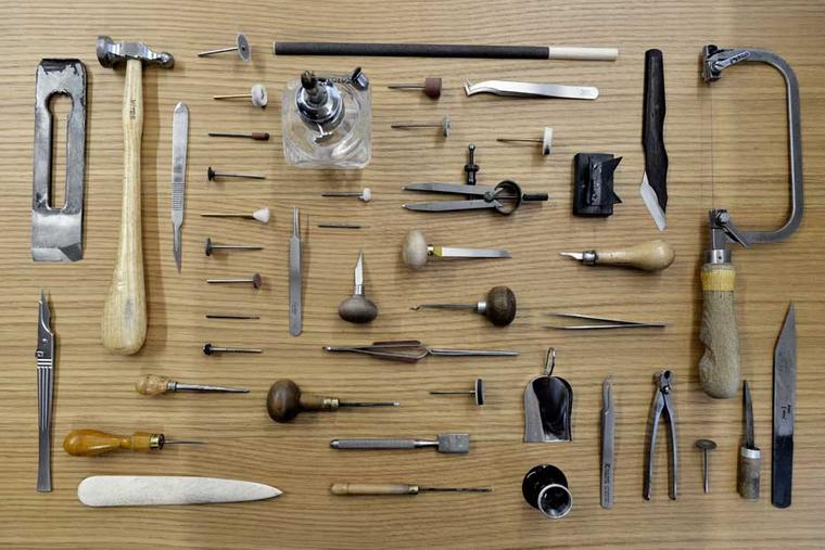 Some of the tools used by craftsmen at Cartier's Maison des Métiers d'Art.
